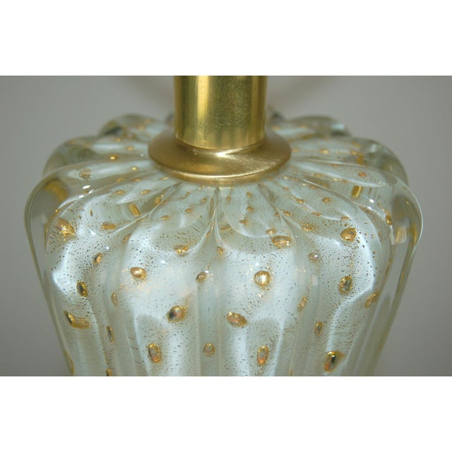 Vintage Murano Glass Table Lamps White Bubbles For Sale - Image 9 of 13