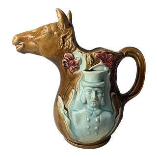 Antique Majolica Absinthe Horse and Jockey Pitcher For Sale