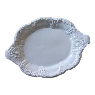 Large Creamware Dish With Botanical Naturalist Design For Sale