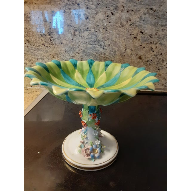 Green Vintage Italian Mottahedeh Green and Blue Epergne For Sale - Image 8 of 8