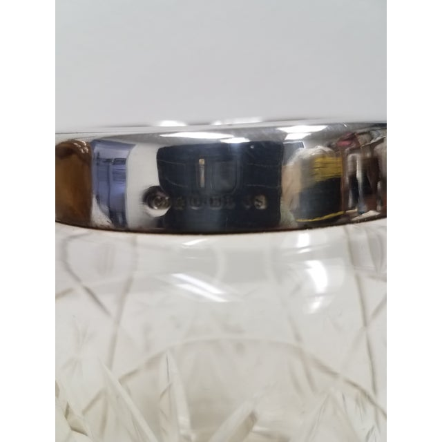 Antique English Crystal Glass Biscuit Jar This jar is nice and heavy with a very nice pattern, The silverplate rim is...