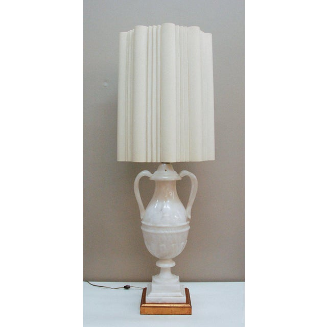 Circa 1950 Hand-Carved Italian Hollywood Regency Alabaster Lamp For Sale - Image 4 of 11