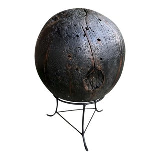 Large Teak Ball With Stand For Sale