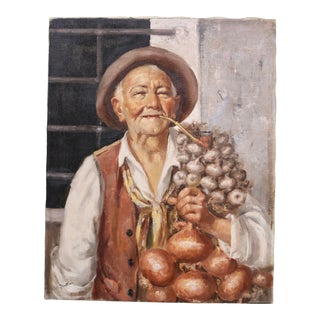 Enrico Frattini Portrait of Old Man With Garlic and Onions Oil on Canvas Painting For Sale