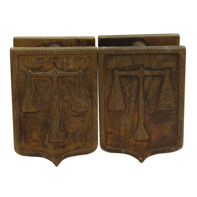 Wood Pair of Wooden Imported Double Door Pulls For Sale - Image 7 of 7