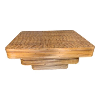 Mid-Century Pencil Reed Stacked Rattan Coffee Table For Sale
