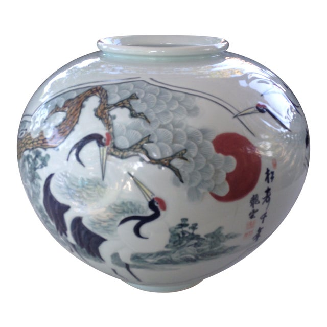 Asian Hand Painted Vase For Sale