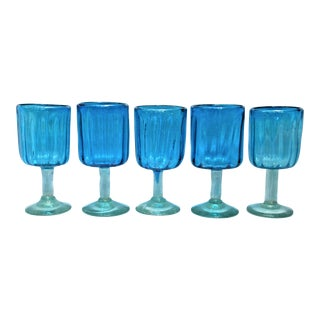 Vintage Turquoise Wine Glasses - Set of 5
