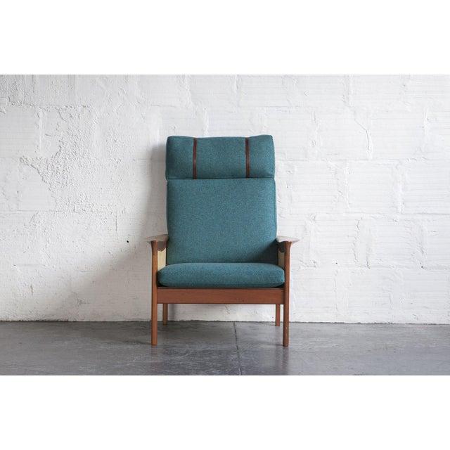 Danish High Back Lounge Chair & Ottoman - Image 3 of 10