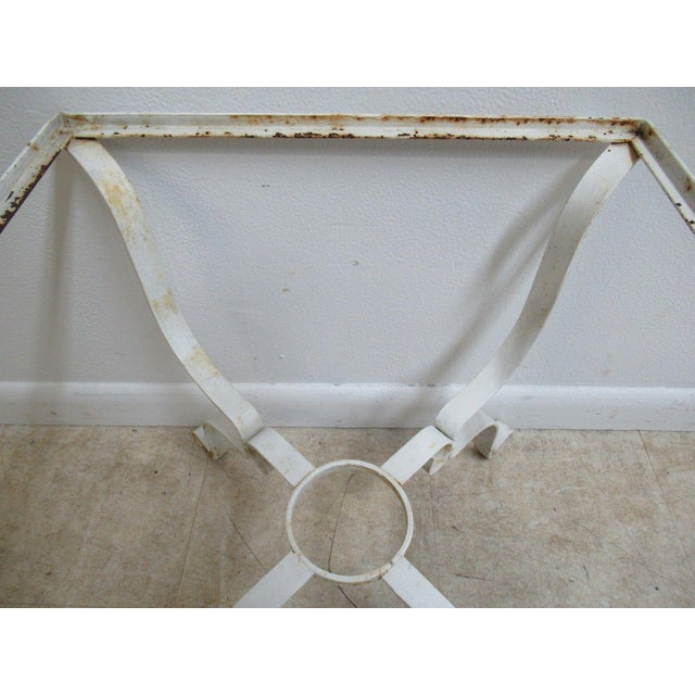 Vintage French White Outdoor Square Patio End Table For Sale - Image 5 of 11