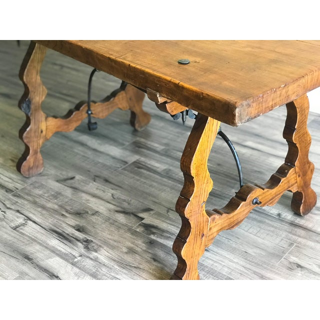 19th Century Spanish Trestle Table Desk With Iron Stretcher For Sale - Image 12 of 13