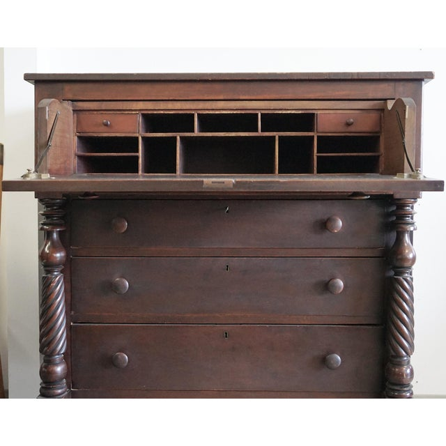 Cherry Wood Antique 1800s Butler Chest with Desk Drawer For Sale - Image 7 of 8