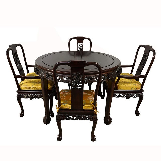 20th Century Chinese Carved Rosewood Dragon Dining Set For Sale - Image 11 of 13