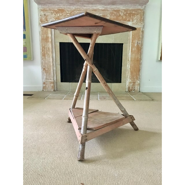 Bamboo Wood Side Table For Sale - Image 4 of 6