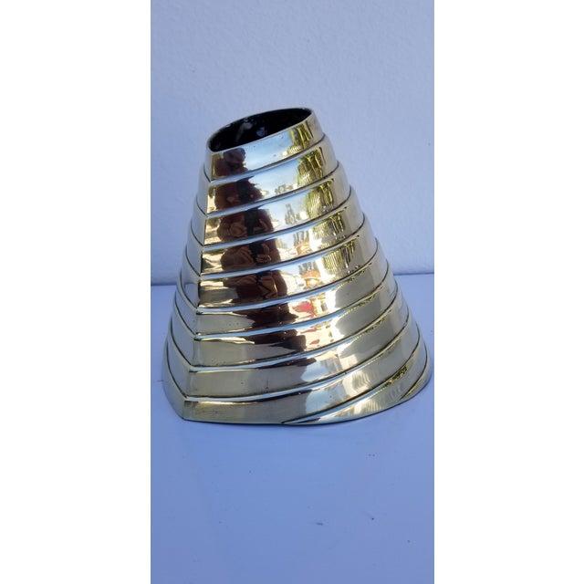 Mid-Century Modern Vintage Sculptural Solid Brass Polished Decorative Vase For Sale - Image 3 of 9