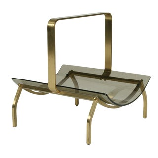 Fontana Arte Smoked Glass & Bronze Magazine Stand For Sale
