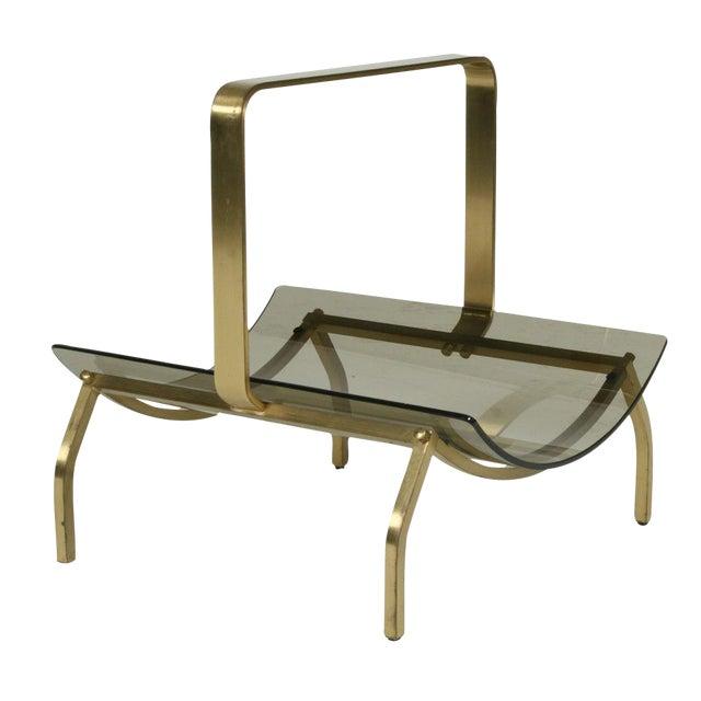 Fontana Arte Smoked Glass & Bronze Magazine Stand For Sale