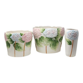 Vintage Pink and Blue Hydrangea Planters or Cachepots - Set of 3 For Sale