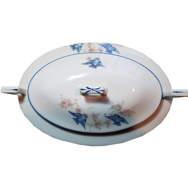 Americana Homer Laughlin Blue Bird China Casserole For Sale - Image 3 of 6