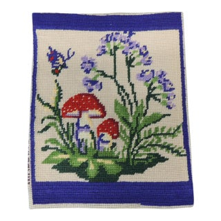 Vintage Small Purple and Green Tapestry Panel For Sale