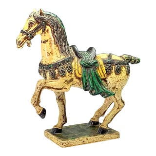 Italian Ugo Zaccagnini Chinoiserie Glazed Pottery T'ang Style Horse / Stallion For Sale