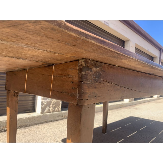 1960s Rustic Custom Built Barnwood PlankTop Dining Table For Sale - Image 10 of 13