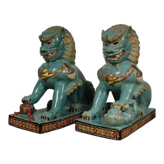 Antique Chinese Color Glazed Ceramic Foo Dog Statues - a Pair For Sale