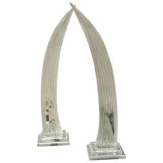 Attractive Pair of Mid-Century Lucite Horn Sculptures by Van Teal For Sale
