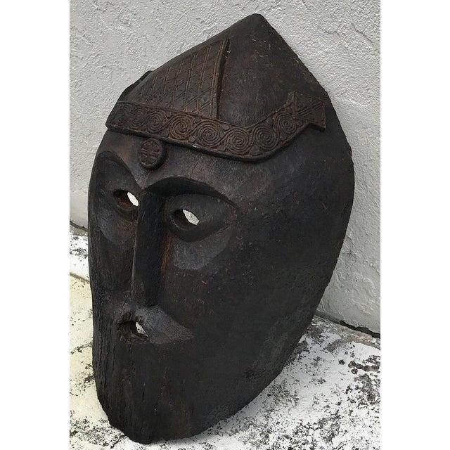 Wood Huge Carved Mahogany Celtic Mask For Sale - Image 7 of 12