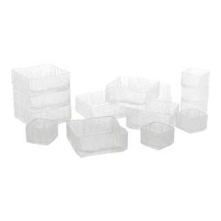 1960s Hoya Crystal Square Ice Texture Bowls, Set of 14 For Sale