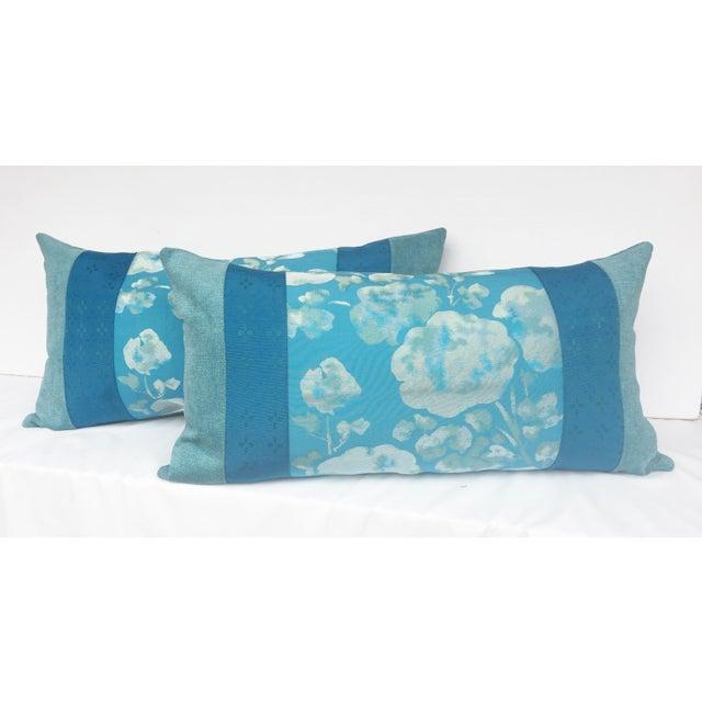 Blue Japanese Obi Pilows - A Pair - Image 3 of 4