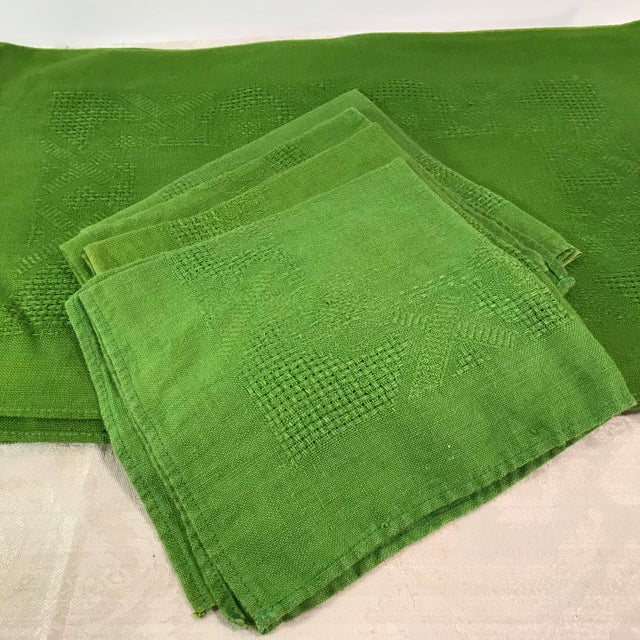 Fabric Vintage Lime Green Woven Placemats and Napkins - Set of 8 For Sale - Image 7 of 9