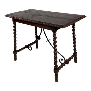 19th Century Spanish Table W/Barley Twist Legs and Scrolled Iron Bars For Sale
