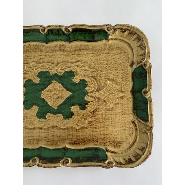 1970s 1970s Florentine Green and Gold Tray For Sale - Image 5 of 6
