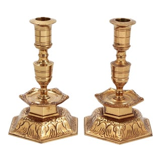 70s Ystad Metall Brass Candle Stick Pair Sweden For Sale