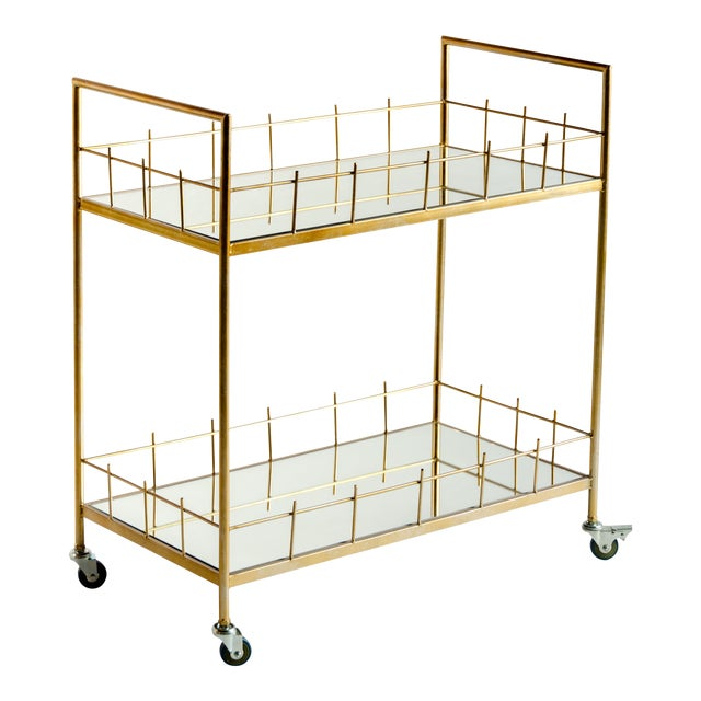 Carrie Metal & Glass Bar Cart For Sale