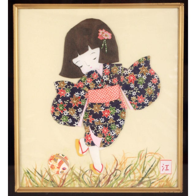 Vintage Japanese Folded & Cut Paper Art Girl in Kimono Playing Soccer For Sale - Image 4 of 9