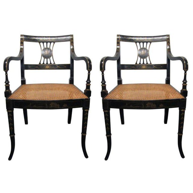Pair of Sheraton Style Stenciled Armchairs For Sale - Image 11 of 11