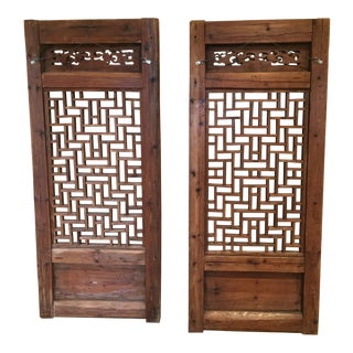 19th Century Asian Teak Shutters - a Pair