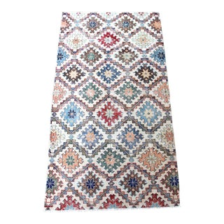 "Vintage Turkish Abstract ""Reflektor"" Rug - 3′11″ × 7′1″"