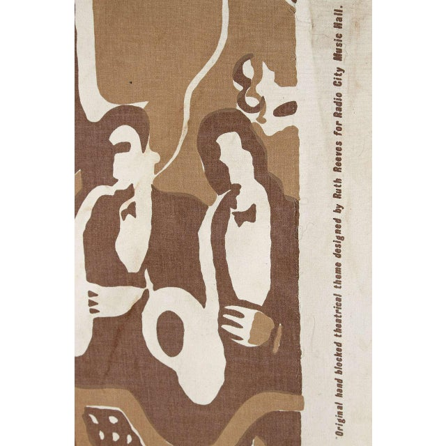 Radio City Music Hall Ruth Reeves Jazz Age Fabric Remnant For Sale - Image 4 of 9
