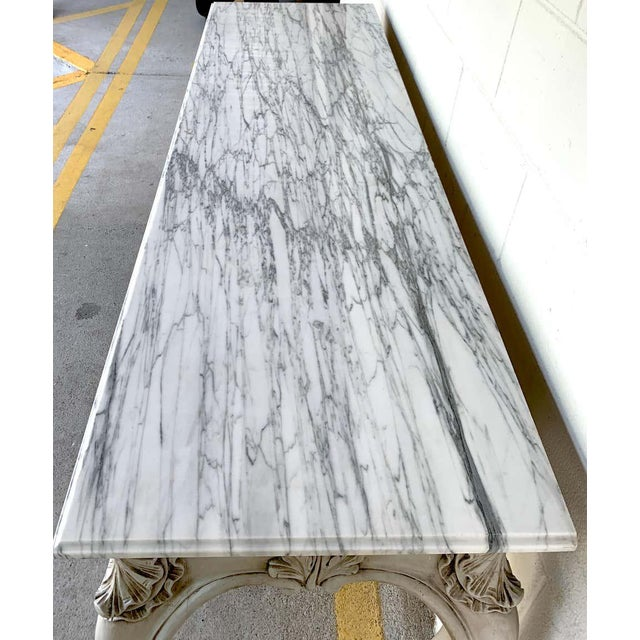 Antique White French Neoclassical Grey Painted Marble-Top Console Table For Sale - Image 8 of 10