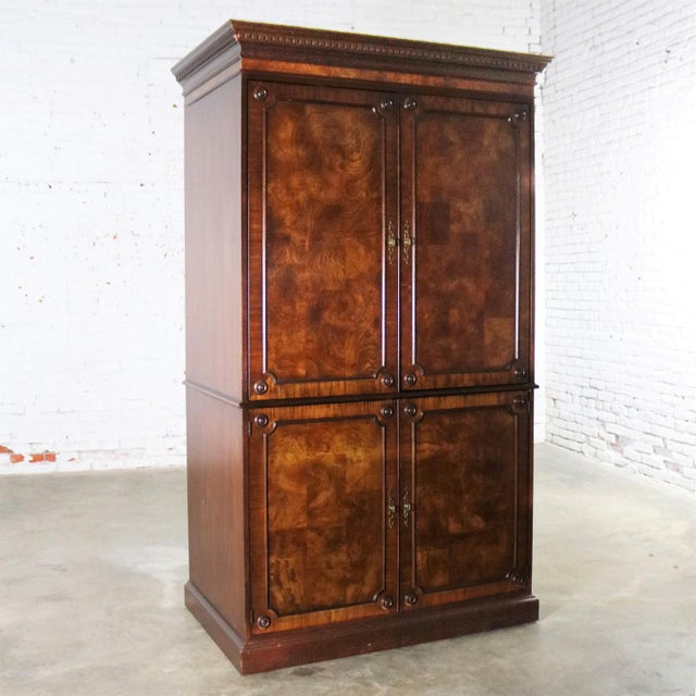 Georgian Style Large Mahogany Entertainment Armoire Wardrobe Cabinet by Hekman For Sale - Image 13 of 13