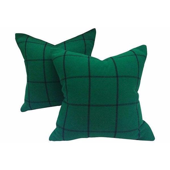 Ralph Lauren Cashmere Plaid Pillows - A Pair - Image 1 of 4