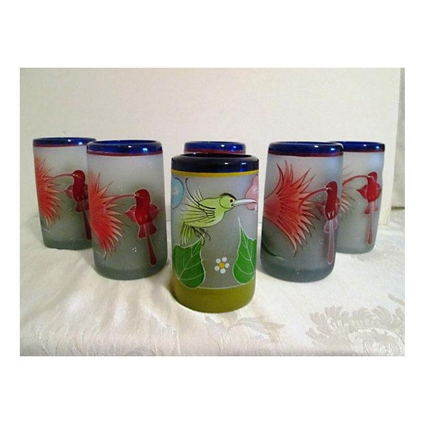 Mexican Frosted Hummingbird Glasses - S/6 - Image 2 of 6