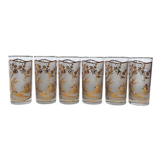 Mid-Century Highball Cocktail Tumbler Glassware Set of 6 For Sale