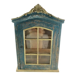 Shabby Chic Rustic Glass Display Cabinet Curio For Sale