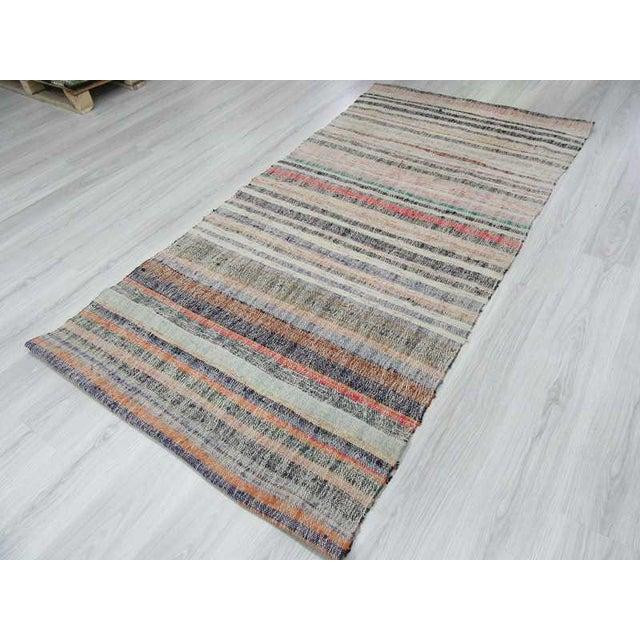 Vintage Striped Turkish Rag Rug For Sale - Image 5 of 6