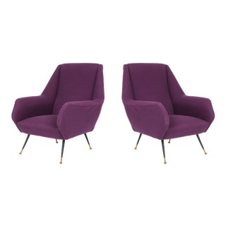 1950s Ico Parisi Easy Chairs With Purple Upholstery - a Pair For Sale