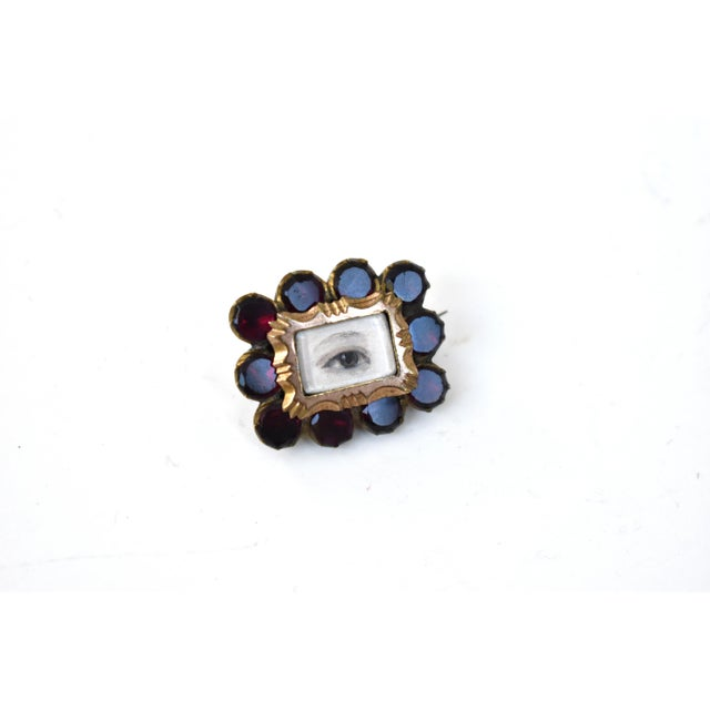 Contemporary Antique Georgian Garnet Brooch With Contemporary Lover's Eye Painting by S. Carson For Sale - Image 3 of 9